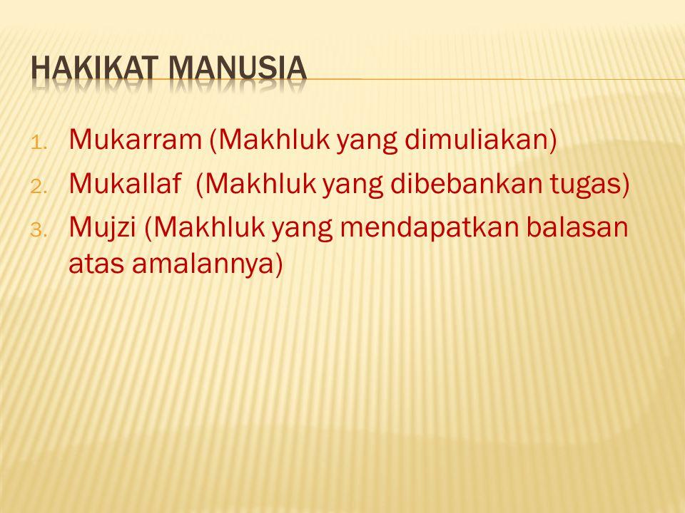 HAKIKAT MANUSIA Mukarram (Makhluk yang dimuliakan)