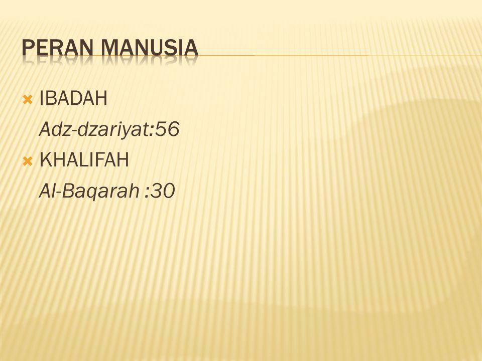 Peran manusia IBADAH Adz-dzariyat:56 KHALIFAH Al-Baqarah :30