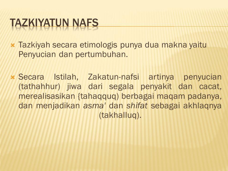 TAZKIYATUN NAFS Tazkiyah secara etimologis punya dua makna yaitu Penyucian dan pertumbuhan.