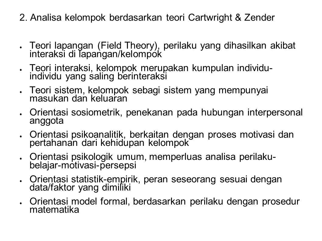 2. Analisa kelompok berdasarkan teori Cartwright & Zender