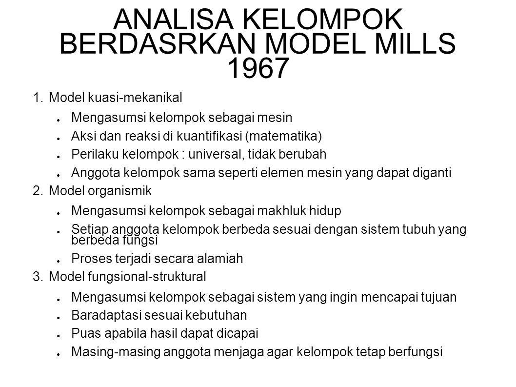ANALISA KELOMPOK BERDASRKAN MODEL MILLS 1967