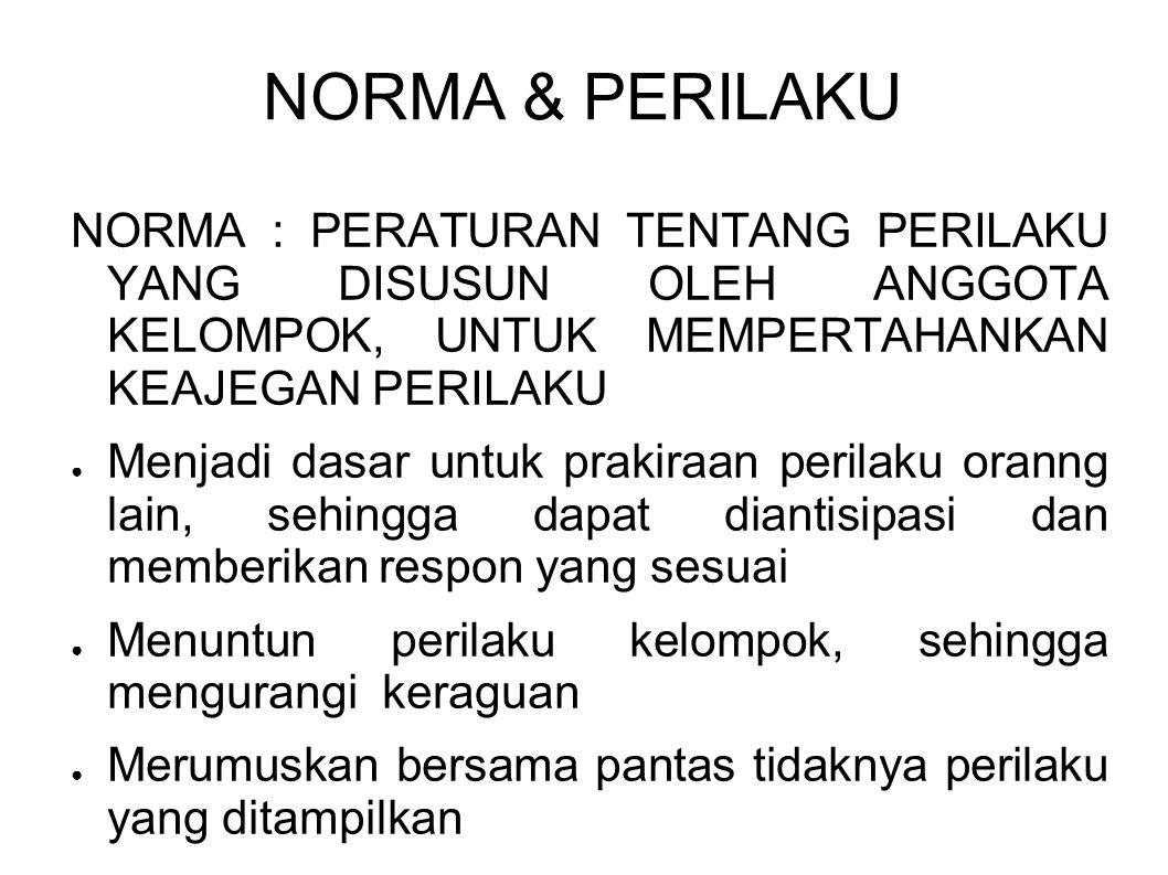 NORMA & PERILAKU NORMA : PERATURAN TENTANG PERILAKU YANG DISUSUN OLEH ANGGOTA KELOMPOK, UNTUK MEMPERTAHANKAN KEAJEGAN PERILAKU.