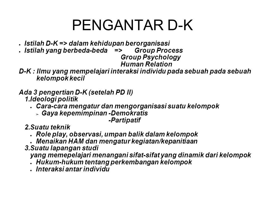 PENGANTAR D-K Istilah D-K => dalam kehidupan berorganisasi