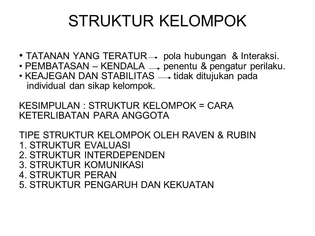STRUKTUR KELOMPOK • TATANAN YANG TERATUR pola hubungan & Interaksi.