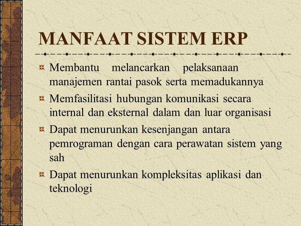 MANFAAT SISTEM ERP Membantu melancarkan pelaksanaan manajemen rantai pasok serta memadukannya.