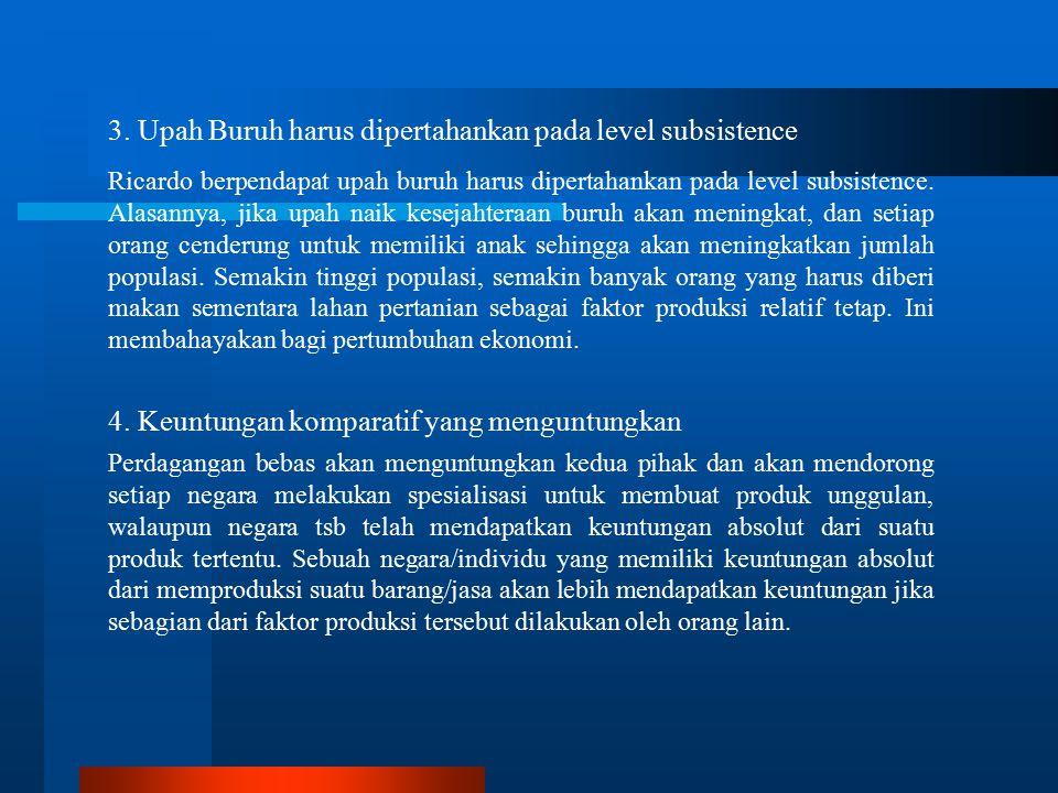 3. Upah Buruh harus dipertahankan pada level subsistence