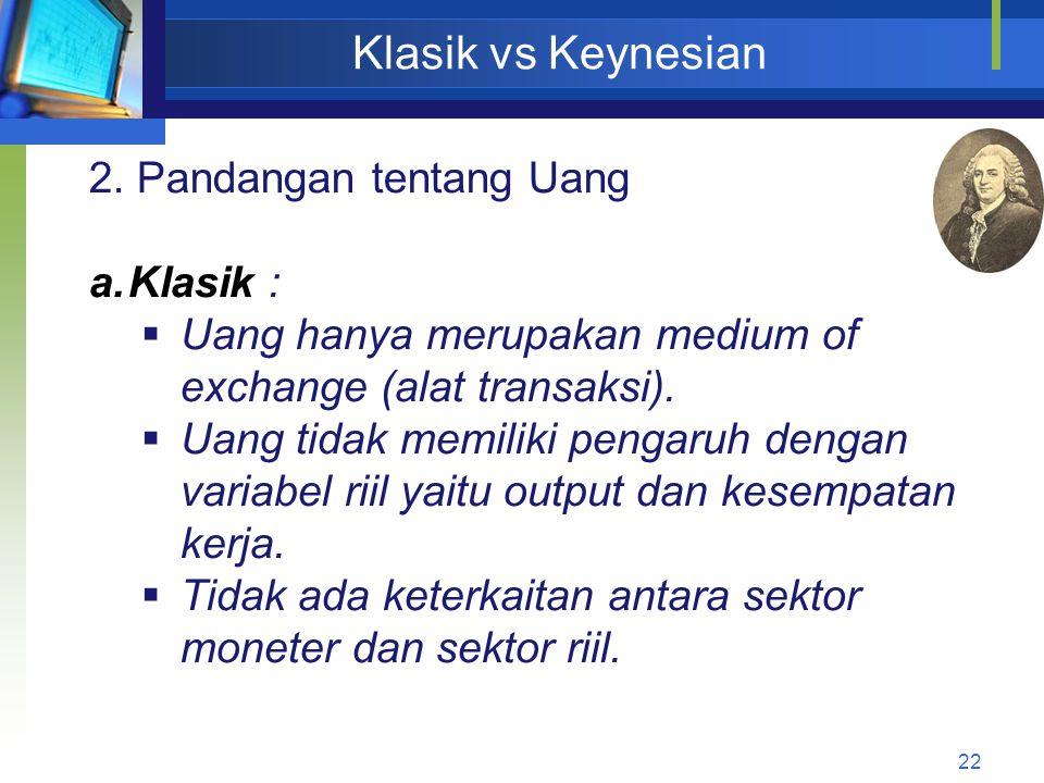 Klasik vs Keynesian 2. Pandangan tentang Uang Klasik :