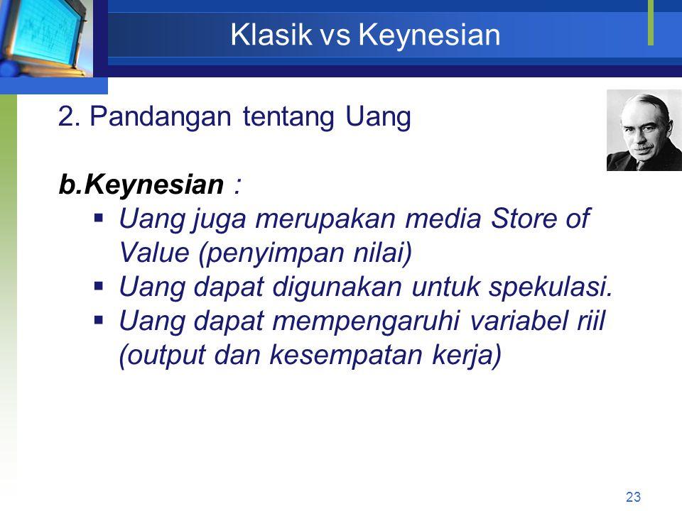 Klasik vs Keynesian 2. Pandangan tentang Uang Keynesian :