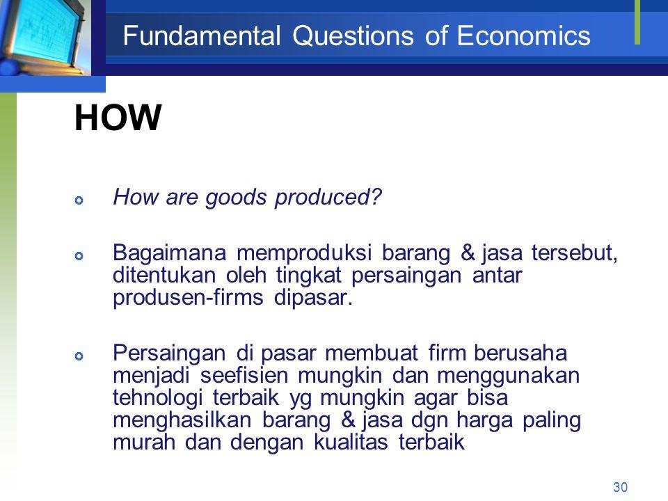 Fundamental Questions of Economics