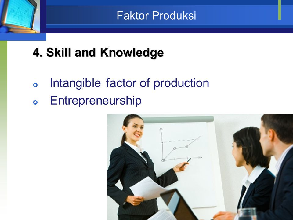 Intangible factor of production Entrepreneurship