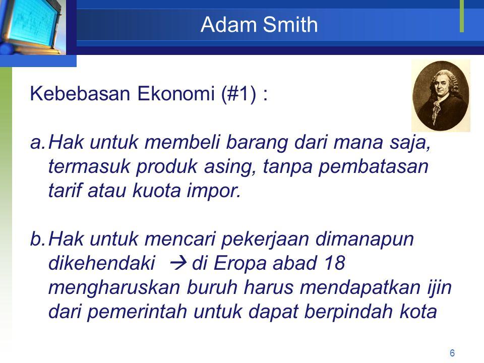 Adam Smith Kebebasan Ekonomi (#1) :