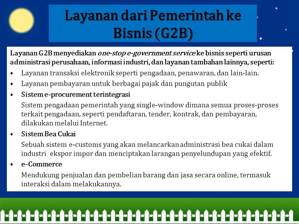 Layanan dari Pemerintah ke Bisnis (G2B)