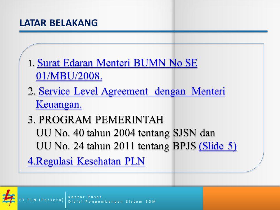 2. Service Level Agreement dengan Menteri Keuangan.