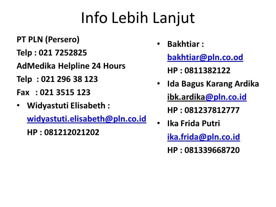 Info Lebih Lanjut PT PLN (Persero) Telp : 021 7252825 Bakhtiar :