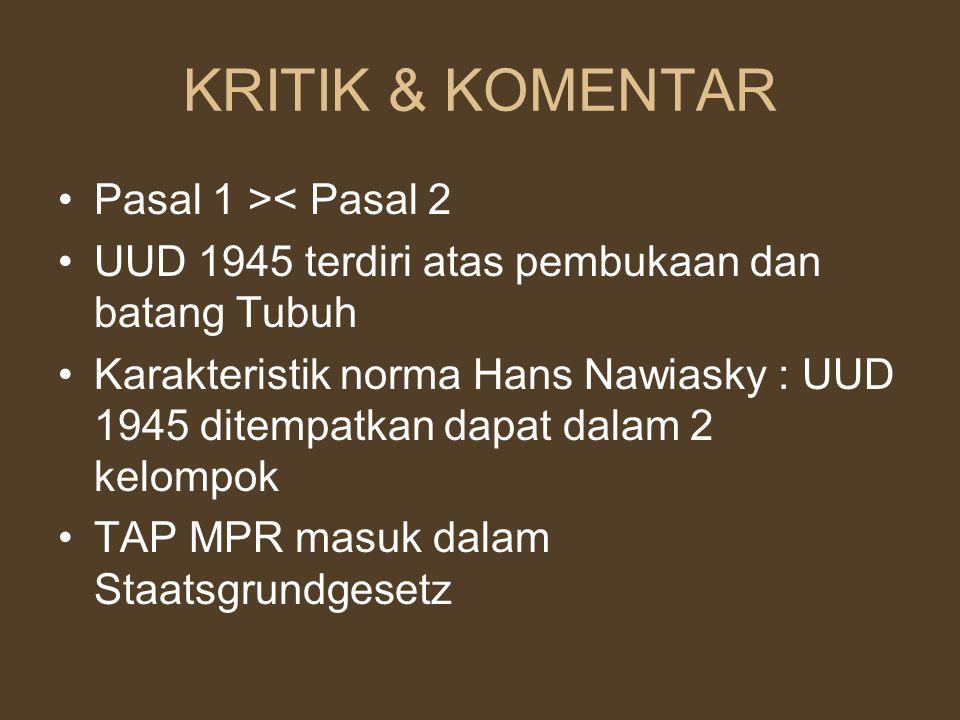 KRITIK & KOMENTAR Pasal 1 >< Pasal 2