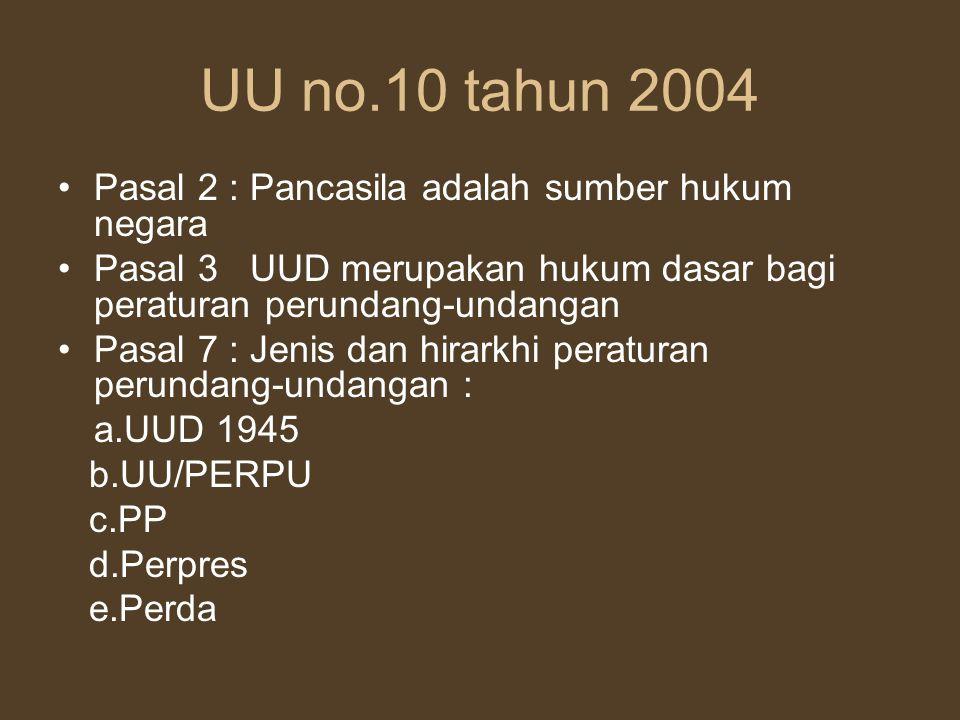 UU no.10 tahun 2004 Pasal 2 : Pancasila adalah sumber hukum negara
