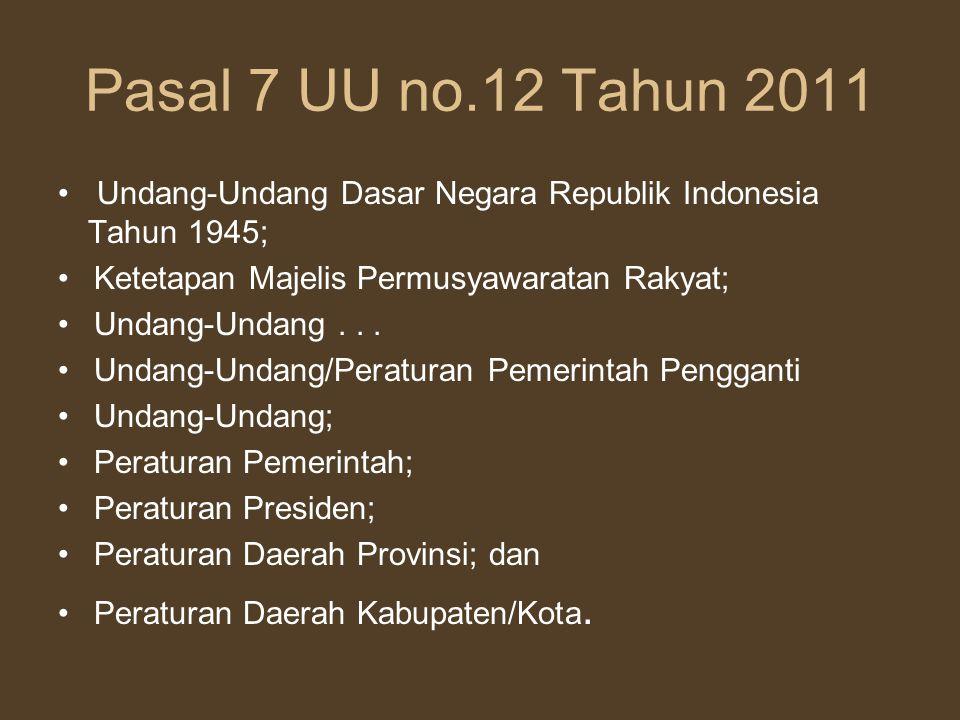 Pasal 7 UU no.12 Tahun 2011 Undang-Undang Dasar Negara Republik Indonesia Tahun 1945; Ketetapan Majelis Permusyawaratan Rakyat;