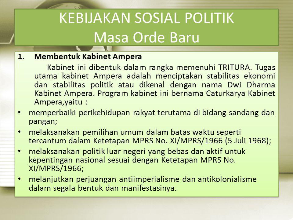 KEBIJAKAN SOSIAL POLITIK Masa Orde Baru