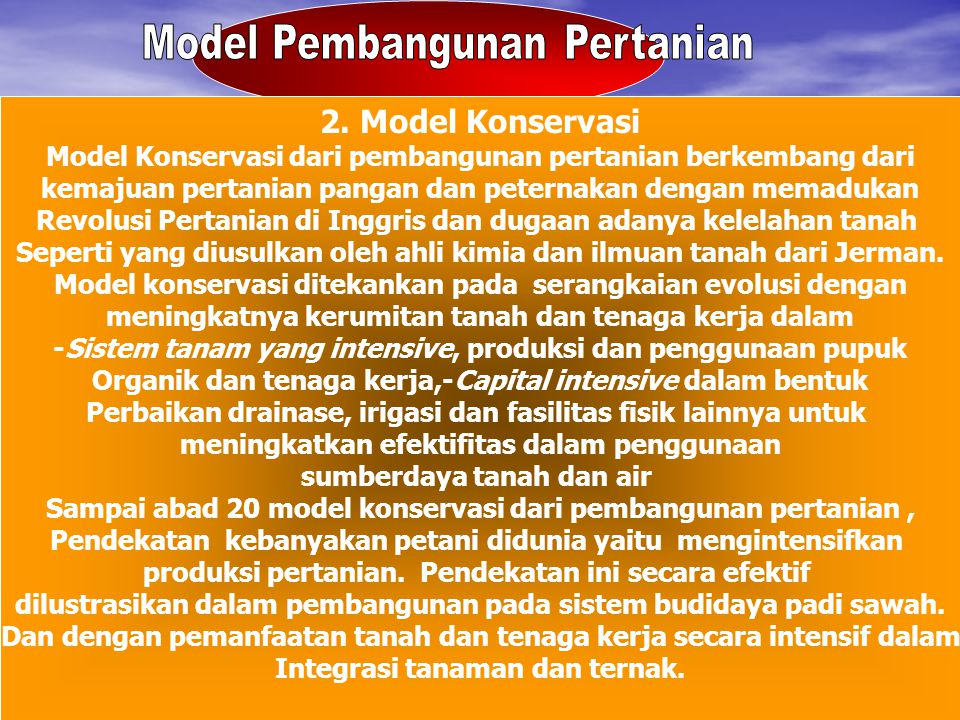 Model Pembangunan Pertanian
