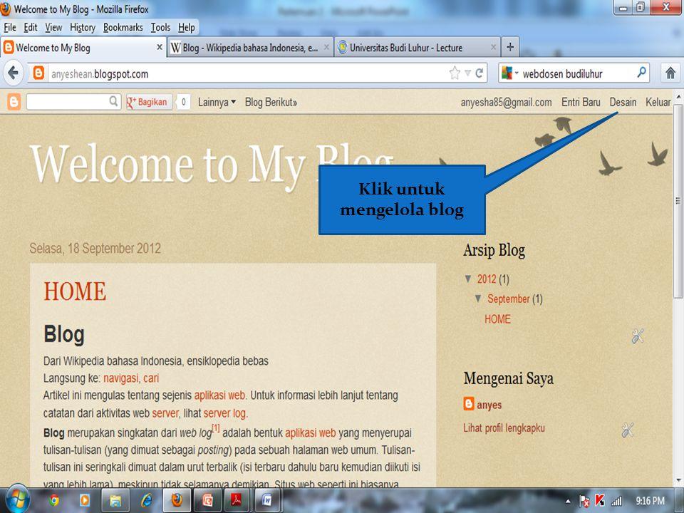 Klik untuk mengelola blog