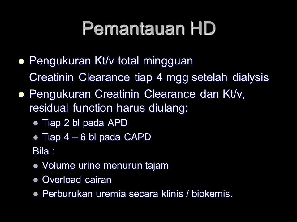 Pemantauan HD Pengukuran Kt/v total mingguan