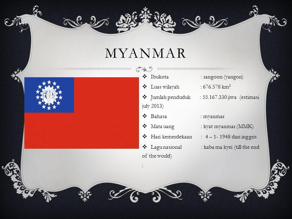 myanmar Ibukota : rangoon (yangon) Luas wilayah : 676.578 km2