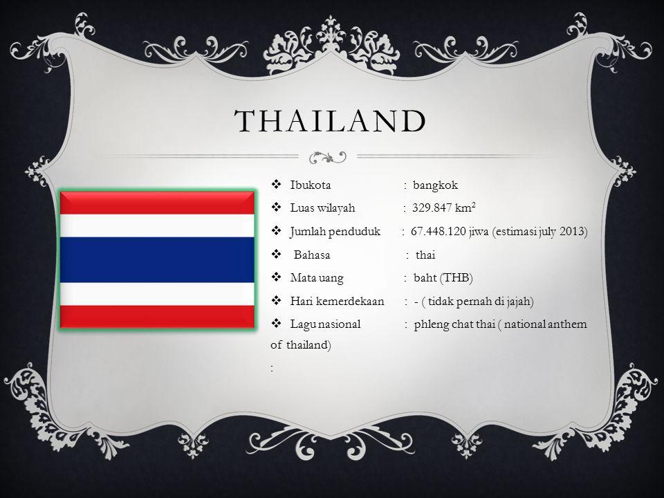 thailand Ibukota : bangkok Luas wilayah : 329.847 km2