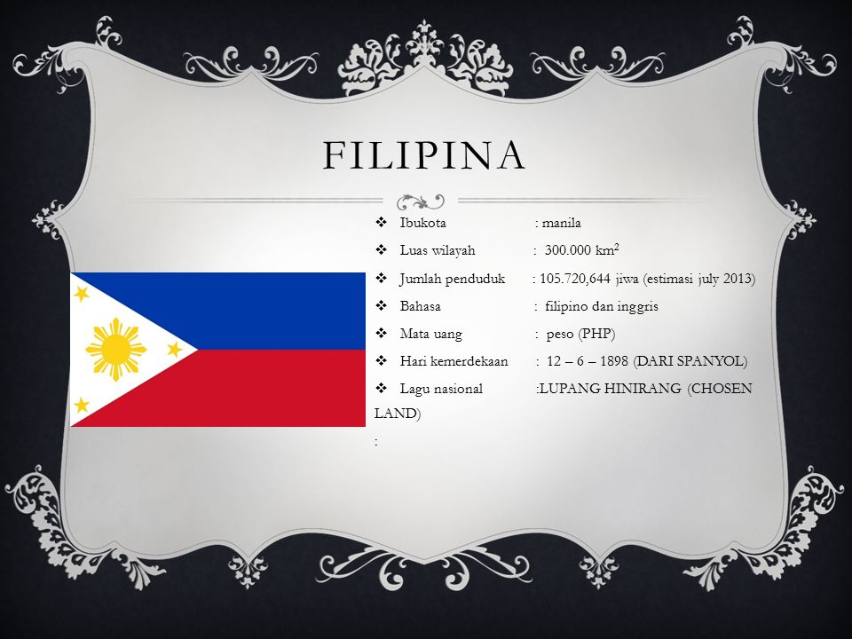 filipina Ibukota : manila Luas wilayah : 300.000 km2