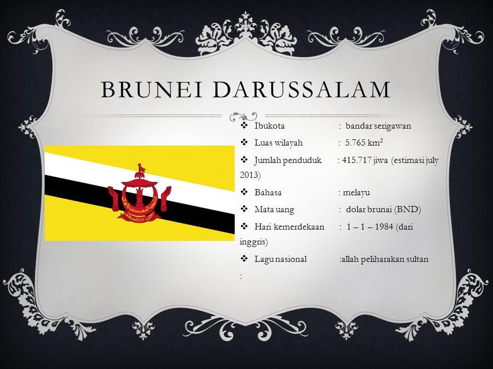 Brunei darussalam Ibukota : bandar serigawan Luas wilayah : 5.765 km2