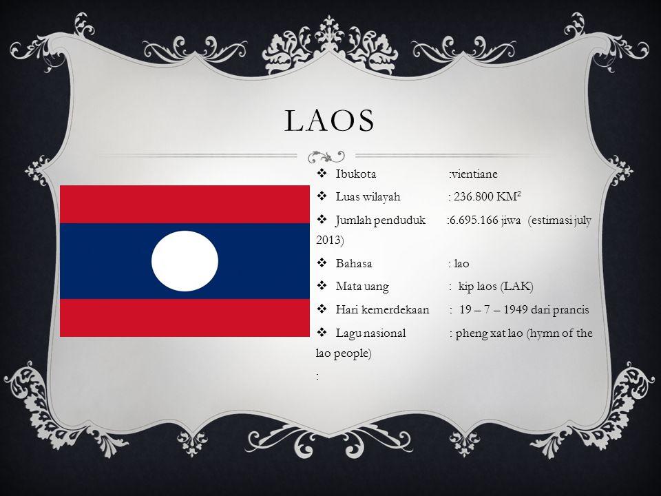 laos Ibukota :vientiane Luas wilayah : 236.800 KM2