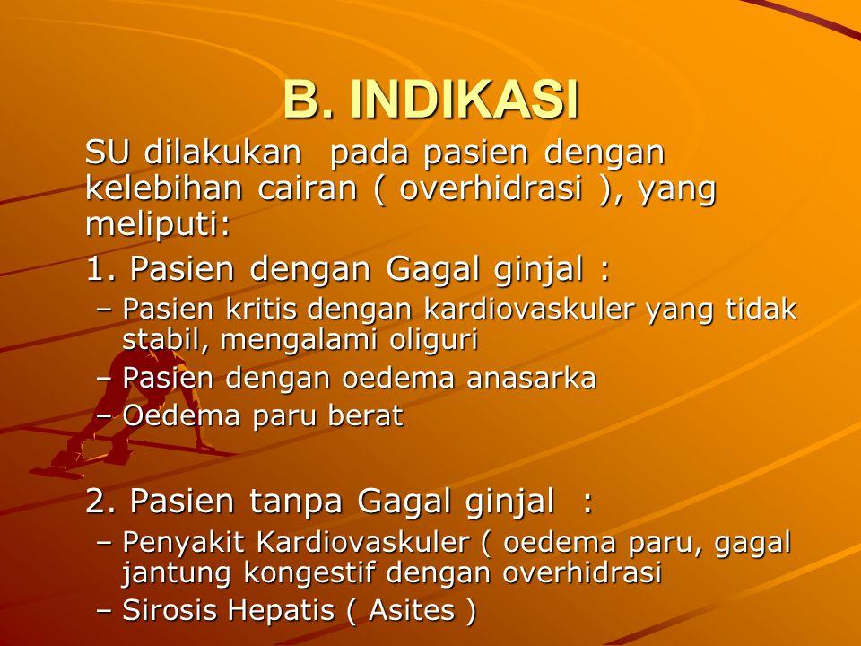 B. INDIKASI SU dilakukan pada pasien dengan kelebihan cairan ( overhidrasi ), yang meliputi: 1. Pasien dengan Gagal ginjal :