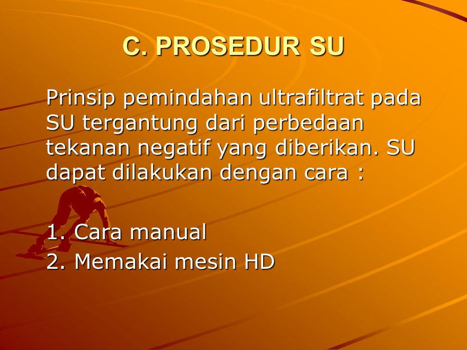 C. PROSEDUR SU Prinsip pemindahan ultrafiltrat pada SU tergantung dari perbedaan tekanan negatif yang diberikan. SU dapat dilakukan dengan cara :