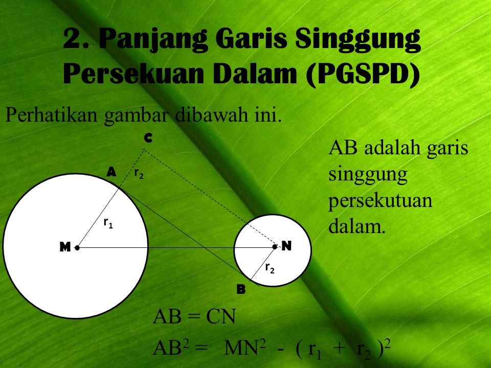 2. Panjang Garis Singgung Persekuan Dalam (PGSPD)
