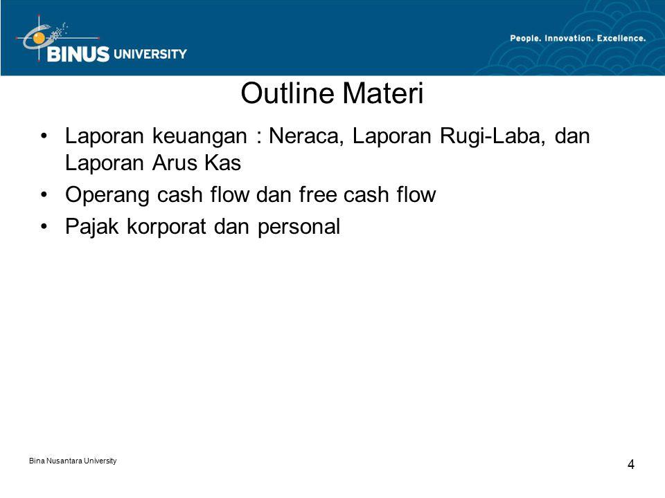 Outline Materi Laporan keuangan : Neraca, Laporan Rugi-Laba, dan Laporan Arus Kas. Operang cash flow dan free cash flow.