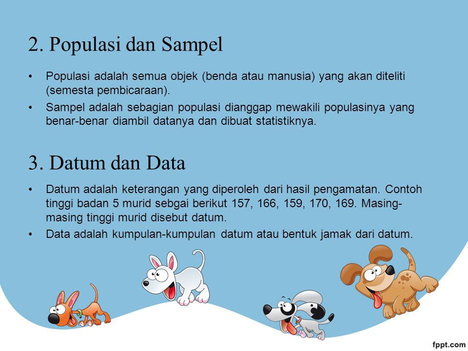 2. Populasi dan Sampel 3. Datum dan Data