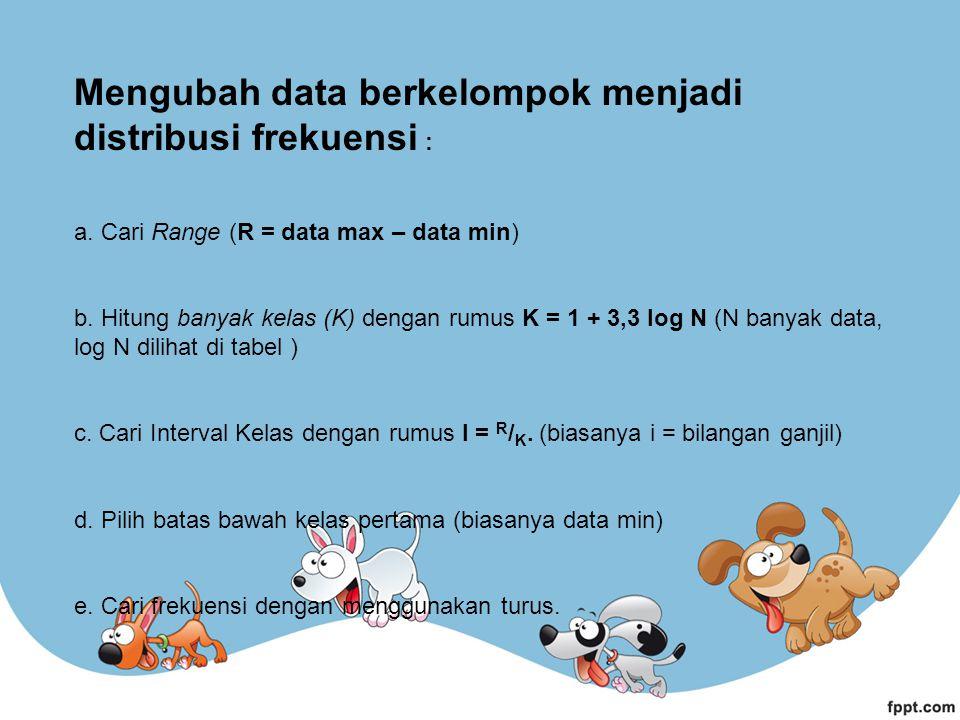 Mengubah data berkelompok menjadi distribusi frekuensi : a