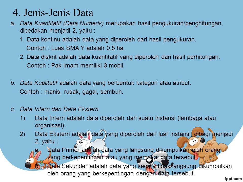 4. Jenis-Jenis Data a. Data Kuantitatif (Data Numerik) merupakan hasil pengukuran/penghitungan, dibedakan menjadi 2, yaitu :