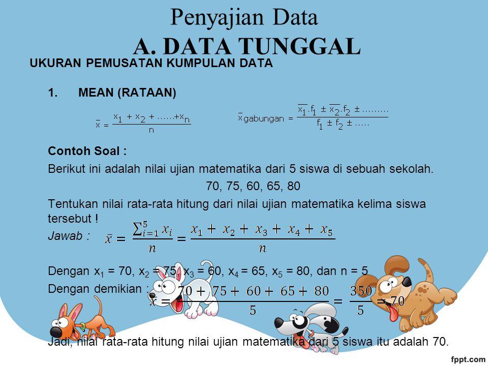 Penyajian Data A. DATA TUNGGAL
