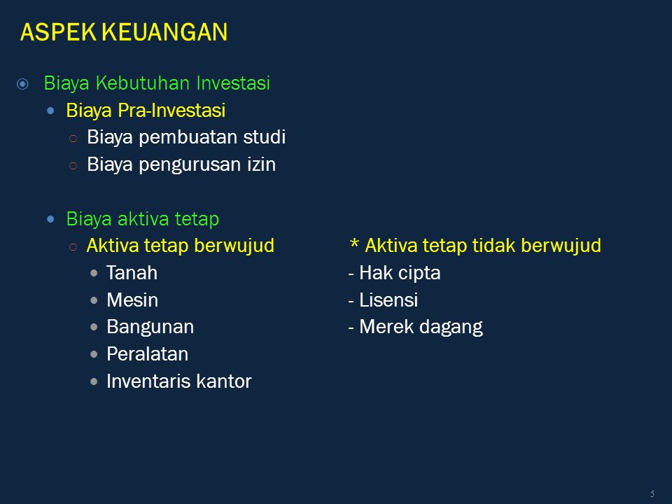 ASPEK KEUANGAN Biaya Kebutuhan Investasi Biaya Pra-Investasi