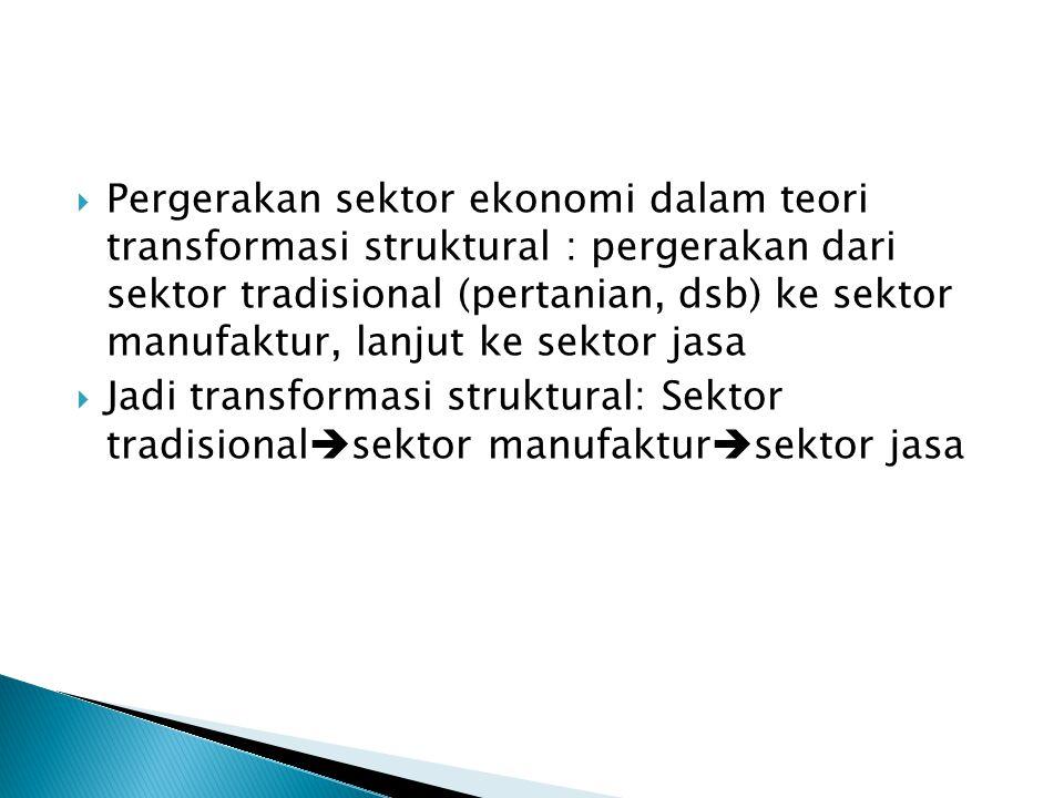 Pergerakan sektor ekonomi dalam teori transformasi struktural : pergerakan dari sektor tradisional (pertanian, dsb) ke sektor manufaktur, lanjut ke sektor jasa