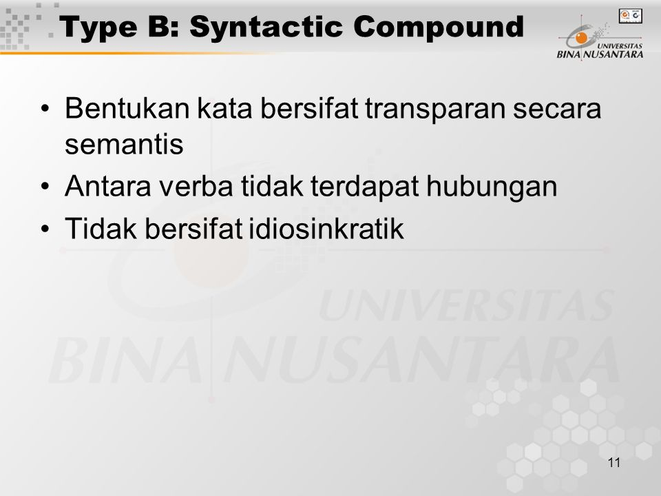 Type B: Syntactic Compound