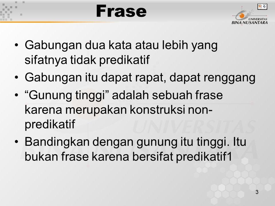 Frase Gabungan dua kata atau lebih yang sifatnya tidak predikatif