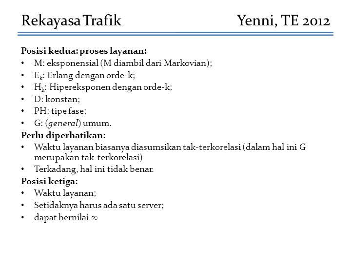 Rekayasa Trafik Yenni, TE 2012 Posisi kedua: proses layanan: