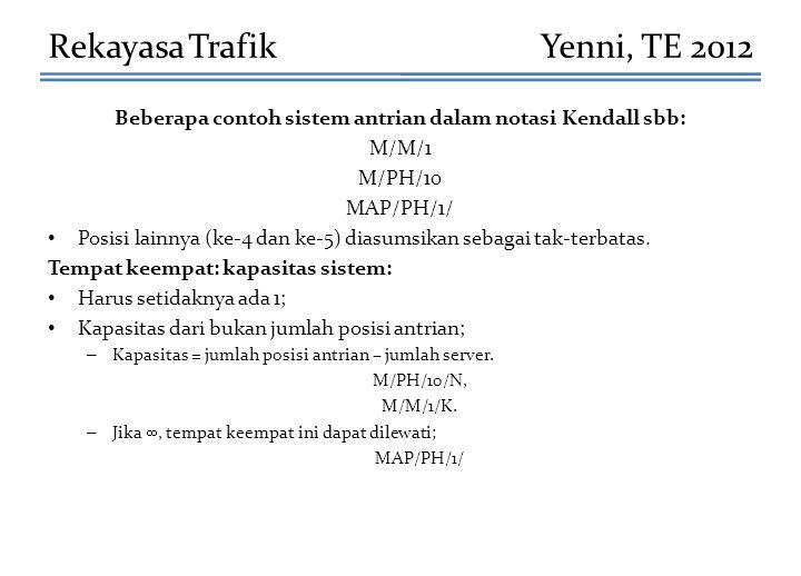 Beberapa contoh sistem antrian dalam notasi Kendall sbb: