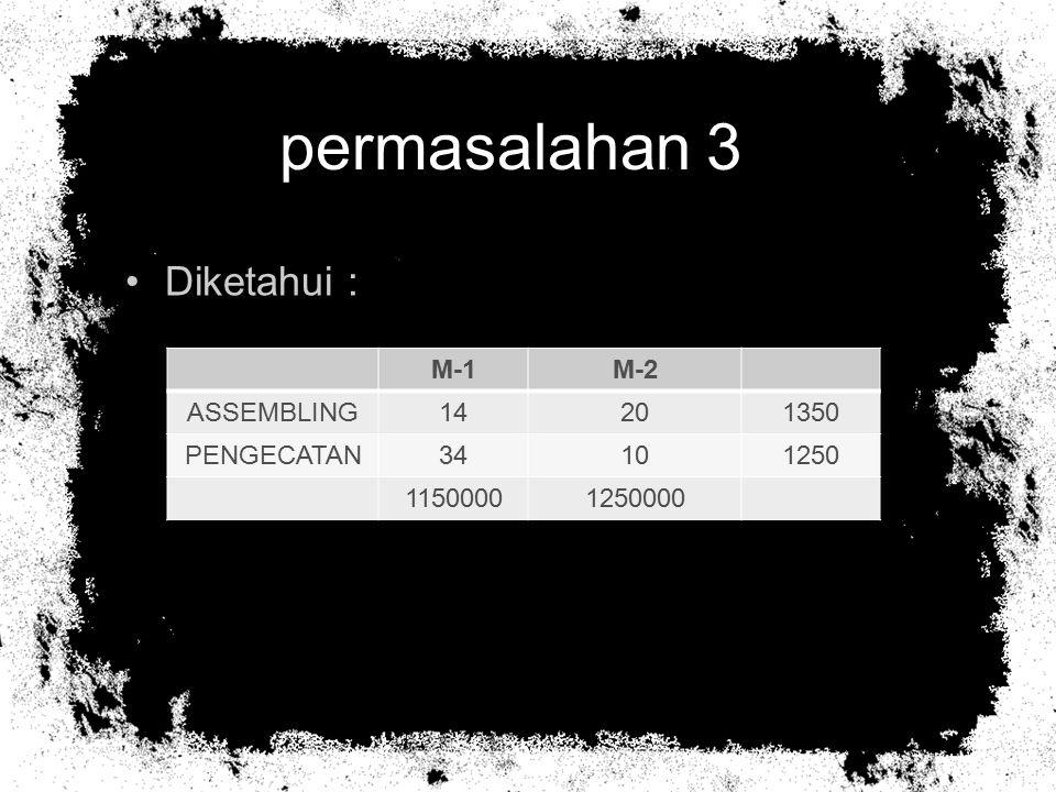 permasalahan 3 Diketahui : M-1 M-2 ASSEMBLING 14 20 1350 PENGECATAN 34