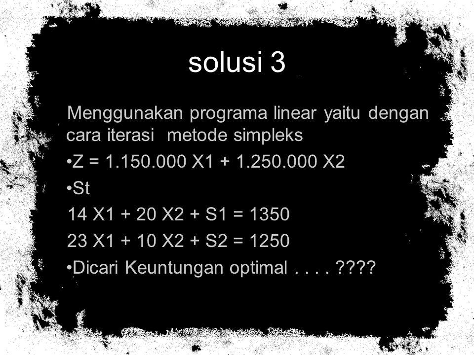 solusi 3 Menggunakan programa linear yaitu dengan cara iterasi metode simpleks. Z = 1.150.000 X1 + 1.250.000 X2.