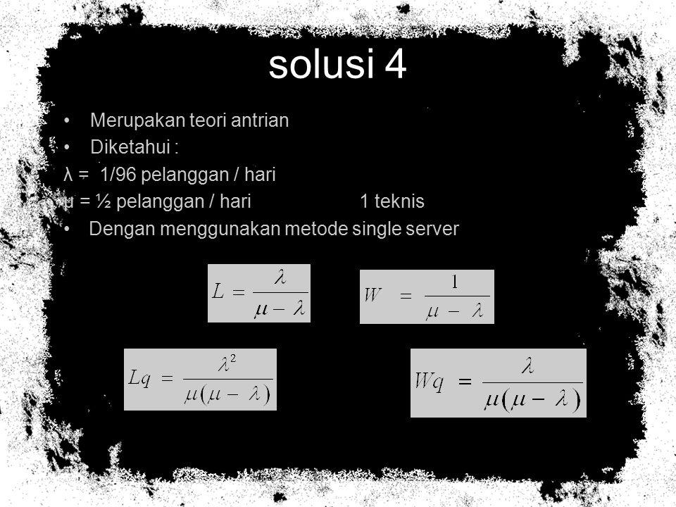 solusi 4 Merupakan teori antrian Diketahui : λ = 1/96 pelanggan / hari