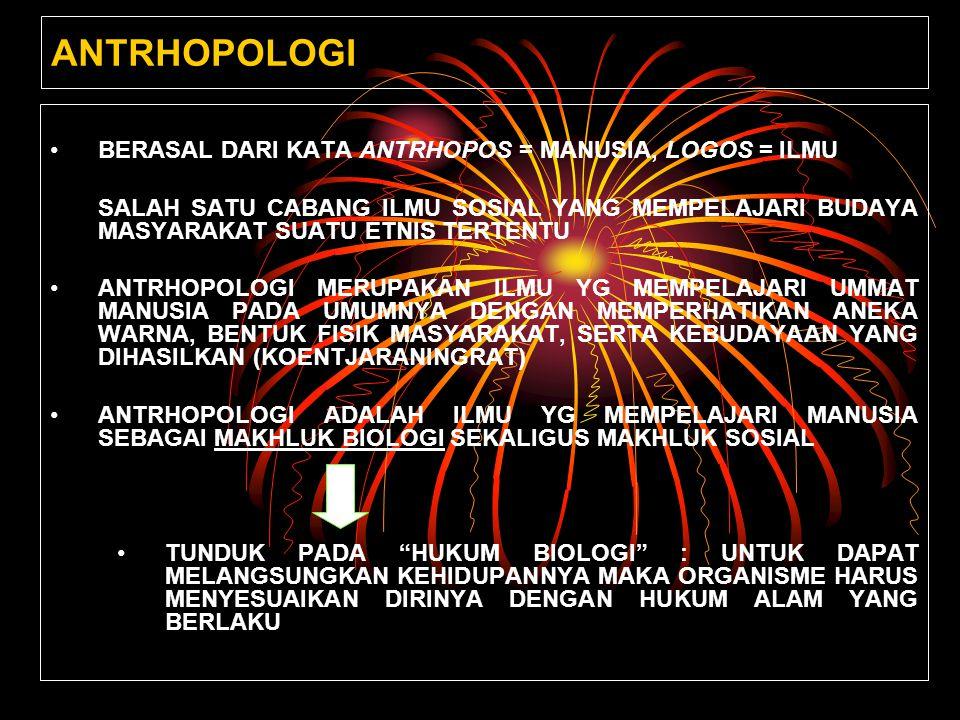 ANTRHOPOLOGI BERASAL DARI KATA ANTRHOPOS = MANUSIA, LOGOS = ILMU