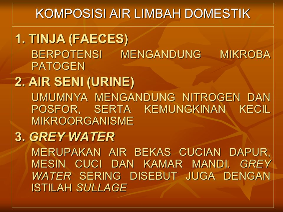 KOMPOSISI AIR LIMBAH DOMESTIK