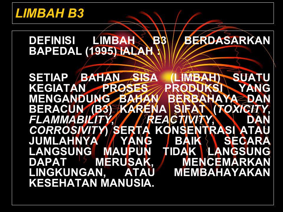 LIMBAH B3 DEFINISI LIMBAH B3 BERDASARKAN BAPEDAL (1995) IALAH :